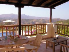 Villa Eleftheria's shaded dining terrace