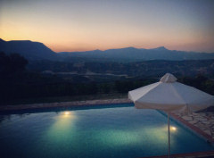 Sunset views across Villa Eleftheria's pool